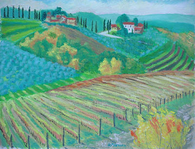 Tuscany Vineyards And Olive Groves Print by Robert P Hedden