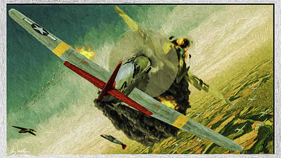 Digital Art - Tuskegee Airmen In Aerial Combat 1 - Oil by Tommy Anderson