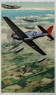 Digital Art - Tuskegee Airmen In Aerial Combat 2 - Oil by Tommy Anderson