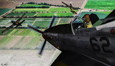 Digital Art - Tuskegee Airmen Vs Bf-109 Messerschmidt In Oil by Tommy Anderson