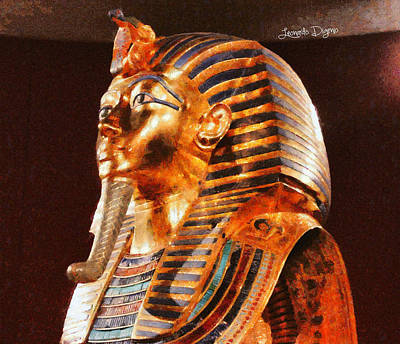 Breastplate Painting - Tutankhamun Golden Mask by Leonardo Digenio