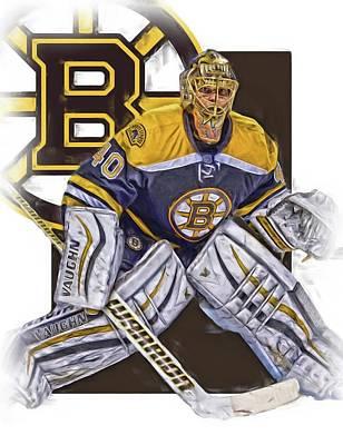 Boston Mixed Media - Tuukka Rask Boston Bruins Oil Art 1 by Joe Hamilton