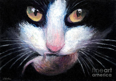 Mouse Painting - Tuxedo Cat With Mouse by Svetlana Novikova