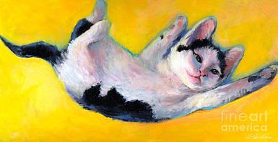 Tuxedo Kitten Painting Print by Svetlana Novikova