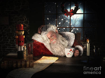Father Christmas Digital Art - Twas The Night Before Christmas by Shanina Conway