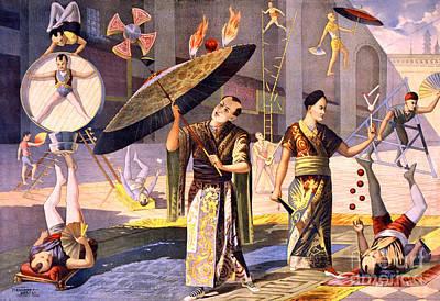 Twelve Asian Acrobats, 1891 Print by Science Source