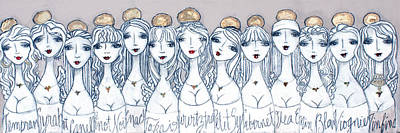 Twelve Wine Angels And One Olive Oil Angel Original by Beti Kristof