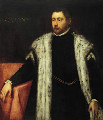 Youth Painting - Twenty-five Year Old Youth With Fur-lined Coat by Tintoretto