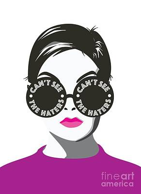 Twiggy Can't See The Haters Print by Lauren Amelia Hughes
