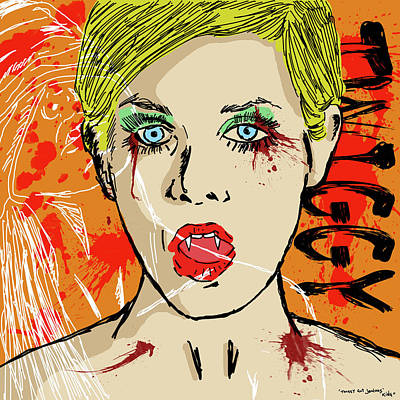 Twiggy Drawing - Twiggy Got Jealous by Sean King