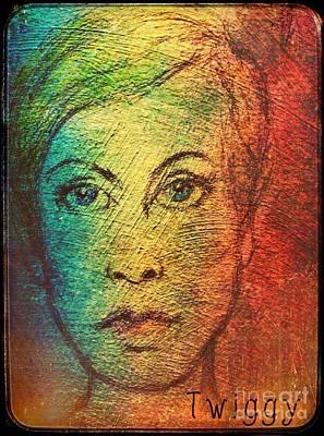 Twiggy Drawing - Twiggy In Oils by Joan-Violet Stretch