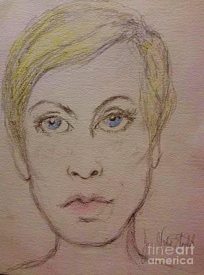 Twiggy Drawing - Twiggy by Joan-Violet Stretch