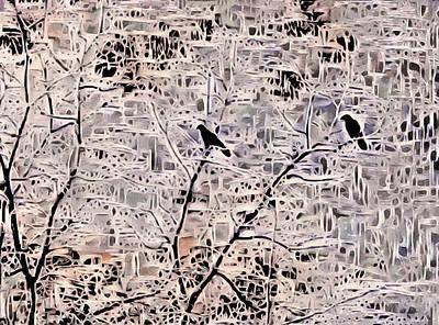 Lovebird Digital Art - Twilight Arrives On Raven Wings by Susan Maxwell Schmidt