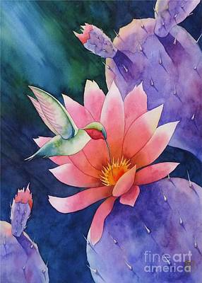 Hummingbird Painting - Twilight Bloom by Robert Hooper