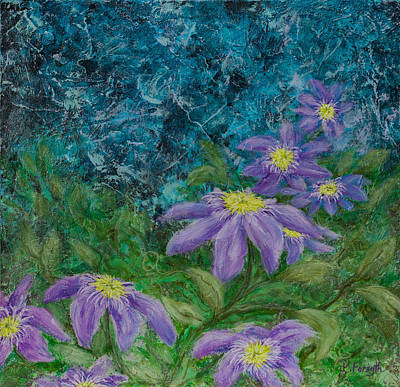 Clematis Painting - Twilight Clematis by Karen Forsyth