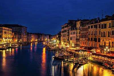 Gondola Photograph - Twilight From The Rialto Bridge by Andrew Soundarajan
