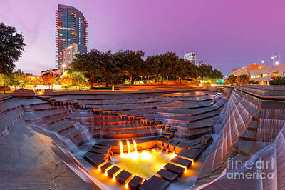 Twilight Glow At Fort Worth Water Gardens - Downtown Fort Worth Texas Print by Silvio Ligutti