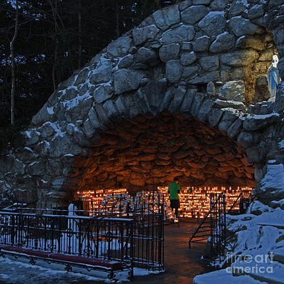 Blessed Mother Photograph - Twilight Grotto Prayer by John Stephens