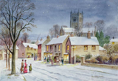 Christmas Greeting Painting - Twilight In The Village by Stanley Cooke