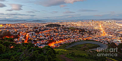 Twilight Panorama Of San Francisco Skyline And Bay Area From Twin Peaks Overlook - California Print by Silvio Ligutti