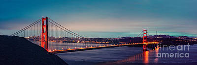 Twilight Panorama Of The Golden Gate Bridge From The Marin Headlands - San Francisco California Print by Silvio Ligutti
