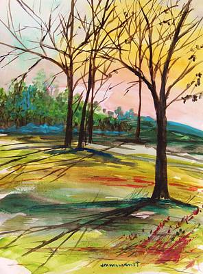 Early Spring Drawing - Twilight Park by John  Williams