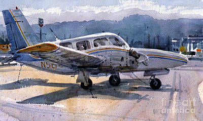 Airport Painting - Twin Engine by Donald Maier