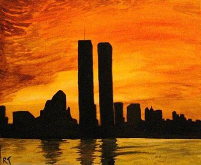 Twin Towers Nyc Painting - Twin Towers Silhouette by Rita Tortorelli