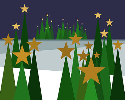 Twinkling Forest Print by Val Arie