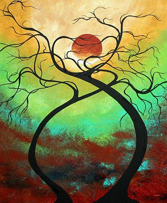 Aqua Painting - Twisting Love II Original Painting By Madart by Megan Duncanson