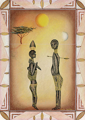 Two African Figures And Tree Print by Sally Appleby