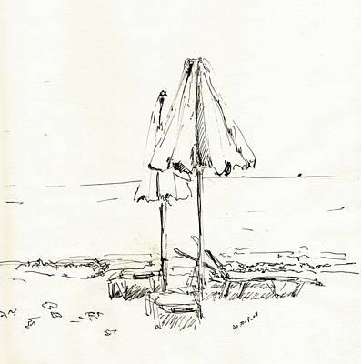 Sepia Ink Drawing - Two Umbrellas by Karina Plachetka