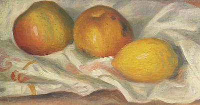 Two Apples And A Lemon Print by Pierre Auguste Renoir
