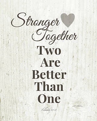 Two Are Better Than One- Art By Linda Woods Print by Linda Woods