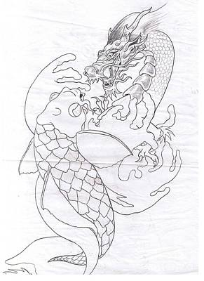 Koi Drawing - Two At War Line Art For Xylem Surfboards by Sally Siko