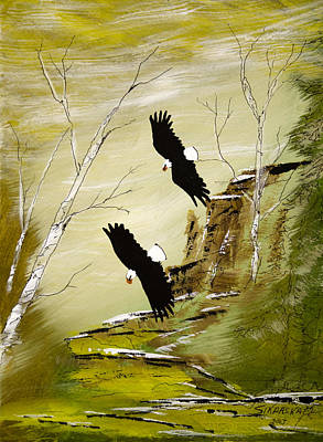 Lake Superior Art Gallery Painting - Two Bald Eagles by Francis Esquega