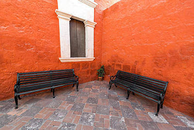Two Benches In A Monastery Print by Jess Kraft