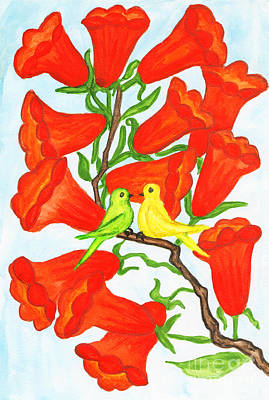 Two Birds On Branch With Flowers Campsis Print by Irina  Afonskaya