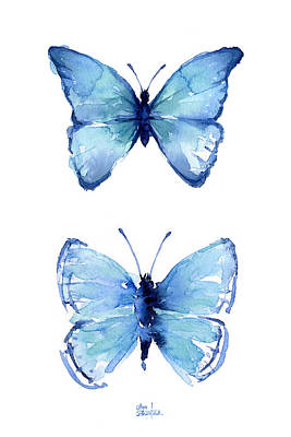 Insect Painting - Two Blue Butterflies Watercolor by Olga Shvartsur