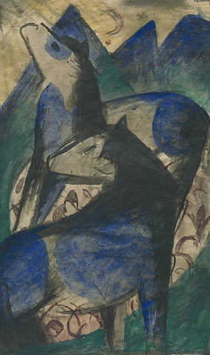 Blue Horse Painting - Two Blue Horses by Franz Marc