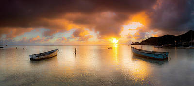 Two Boat Sunrise Print by Sean Davey