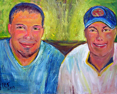 Baseball Cap Painting - Two Brothers by Patricia Taylor