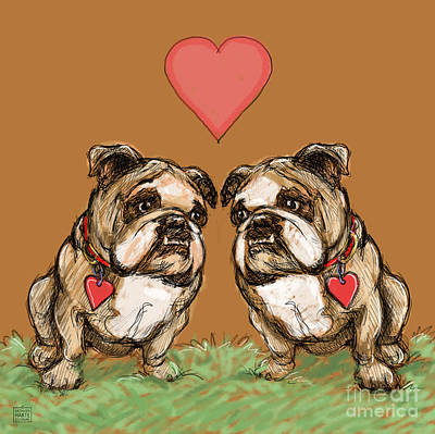 Couple Mixed Media - Two Bulldogs by Kathleen Harte Gilsenan