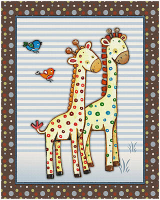 Happy Elephant Painting - Two-by-two Giraffes by Cheryl Marie