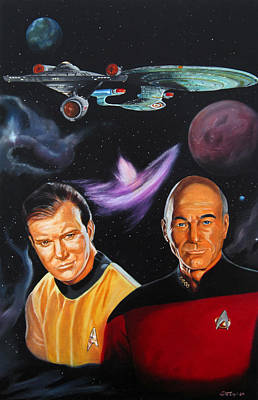Captain Kirk Painting - Two Captains by Robert Steen