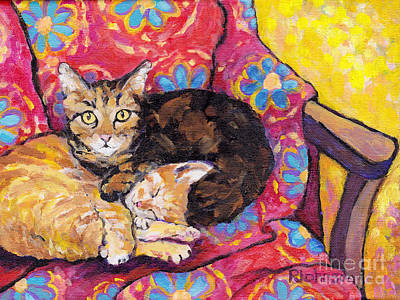 Two Cat Nap Print by Peggy Johnson