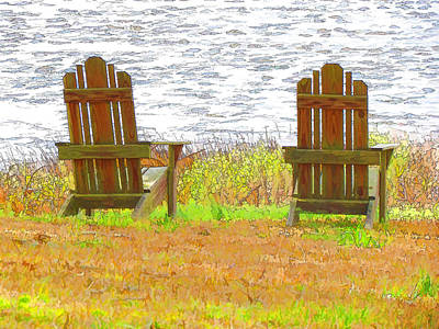 Two Chairs Facing The Lake Print by Lanjee Chee