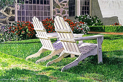 Lawn Chairs Painting - Two Chairs On Carmelina by David Lloyd Glover