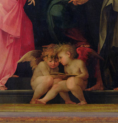 Saint Painting - Two Cherubs Reading Detail From Madonna And Child With Saints by Giovanni Battist Rosso Fiorentino