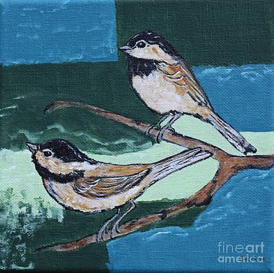 Chickadee Mixed Media - Two Chickadees - Bird Art By Ella by Ella Kaye Dickey